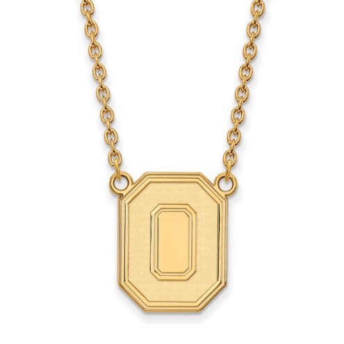 Ohio State Buckeyes Sterling Silver Gold Plated Large Pendant Necklace