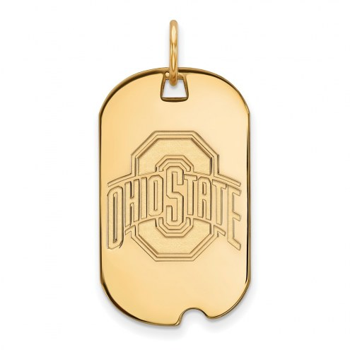 Ohio State Buckeyes Sterling Silver Gold Plated Small Dog Tag