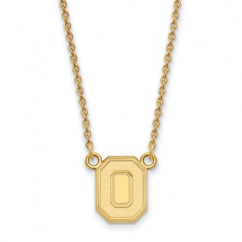 Ohio State Buckeyes Sterling Silver Gold Plated Small Pendant Necklace