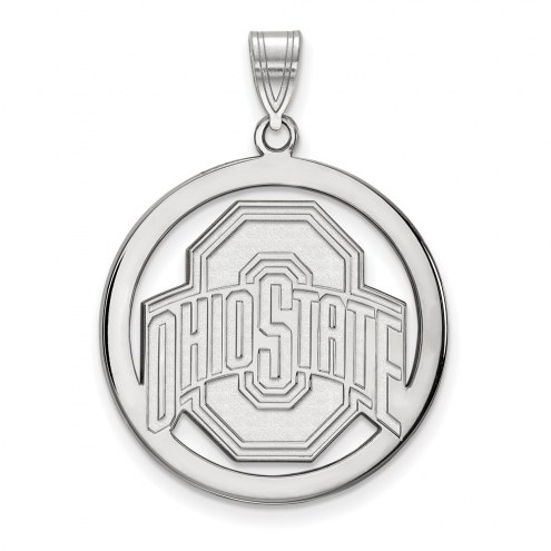 Ohio State Buckeyes Sterling Silver Large Circle Pendant