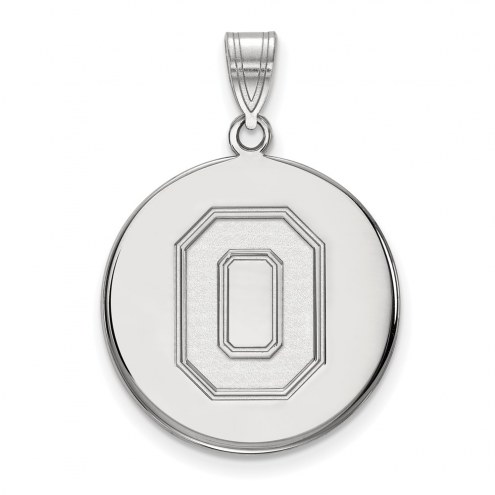 Ohio State Buckeyes Sterling Silver Large Disc Pendant
