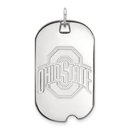 Ohio State Buckeyes Sterling Silver Large Dog Tag