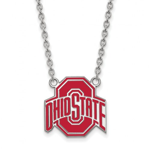 Ohio State Buckeyes Sterling Silver Large Enameled Pendant Necklace