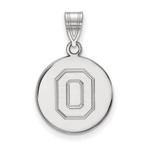 Ohio State Buckeyes Sterling Silver Medium Disc Pendant