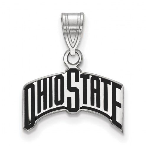 Ohio State Buckeyes Sterling Silver Medium Enameled Pendant