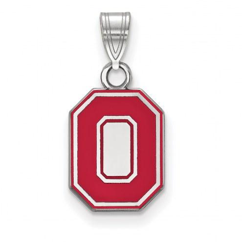Ohio State Buckeyes Sterling Silver Small Enamel Pendant