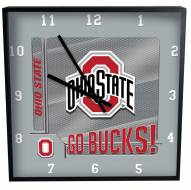 Ohio State Buckeyes Team Black Square Clock