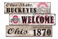 Ohio State Buckeyes Welcome 3 Plank Sign