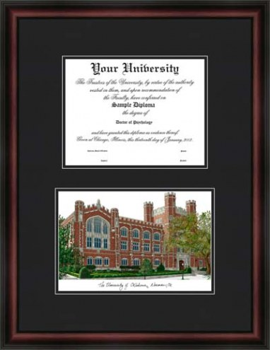 University of Oklahoma Diplomate Framed Lithograph with Diploma Opening