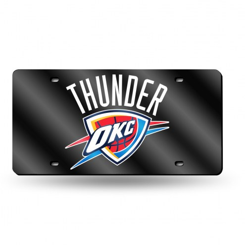 Oklahoma City Thunder Black Laser Cut License Plate