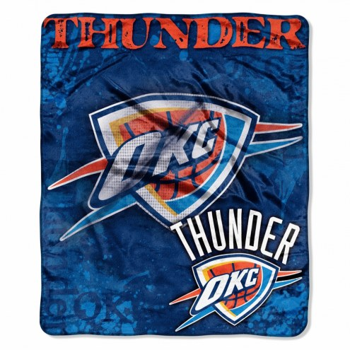 Oklahoma City Thunder Drop Down Raschel Throw Blanket