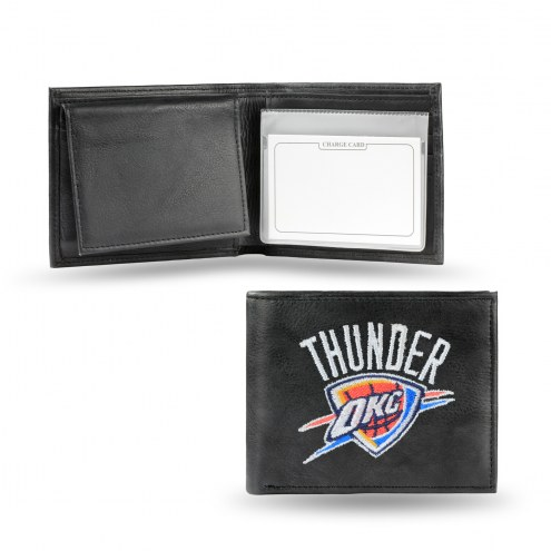 Oklahoma City Thunder Embroidered Leather Billfold Wallet