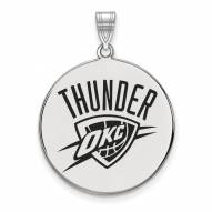 Oklahoma City Thunder Sterling Silver Extra Large Enameled Disc Pendant