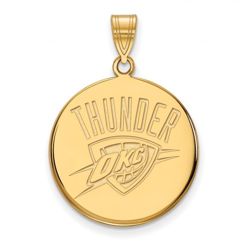Oklahoma City Thunder Sterling Silver Gold Plated Large Disc Pendant