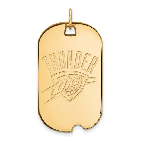 Oklahoma City Thunder Sterling Silver Gold Plated Large Dog Tag