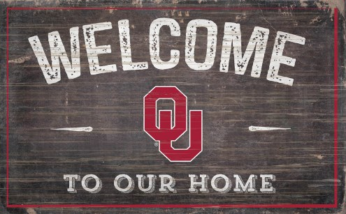 """Oklahoma Sooners 11"""" x 19"""" Welcome to Our Home Sign"""