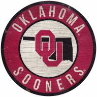 """Oklahoma Sooners 12"""" Circle with State Sign"""