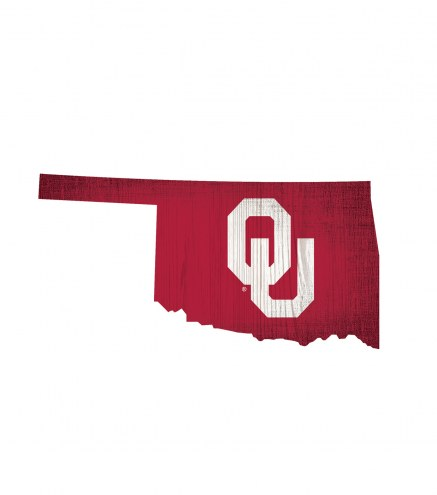 """Oklahoma Sooners 12"""" Team Color Logo State Sign"""