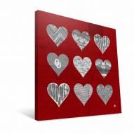 """Oklahoma Sooners 12"""" x 12"""" Hearts Canvas Print"""