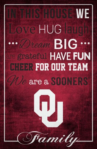 """Oklahoma Sooners 17"""" x 26"""" In This House Sign"""