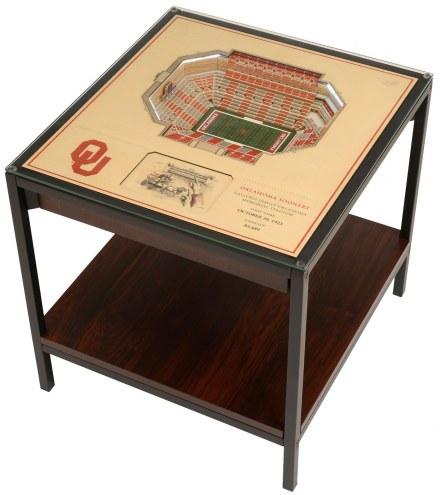 Oklahoma Sooners 25-Layer StadiumViews Lighted End Table