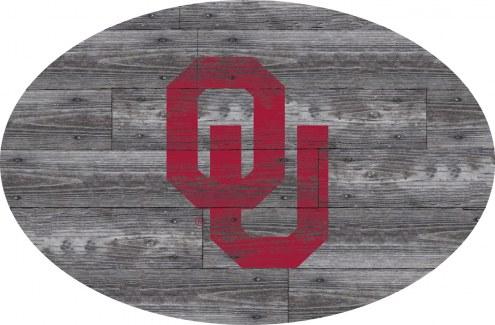 "Oklahoma Sooners 46"" Distressed Wood Oval Sign"