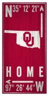 "Oklahoma Sooners 6"" x 12"" Coordinates Sign"