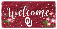 """Oklahoma Sooners 6"""" x 12"""" Floral Welcome Sign"""
