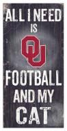 """Oklahoma Sooners 6"""" x 12"""" Football & My Cat Sign"""
