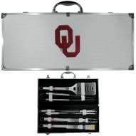 Oklahoma Sooners 8 Piece Stainless Steel BBQ Set w/Metal Case