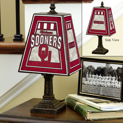Oklahoma Sooners Art Glass Table Lamp