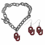 Oklahoma Sooners Chain Bracelet & Dangle Earring Set
