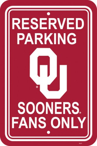 Oklahoma Sooners College Parking Sign