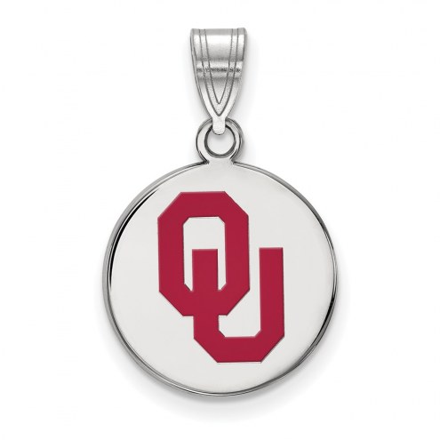 Oklahoma Sooners Sterling Silver Medium Enameled Disc Pendant