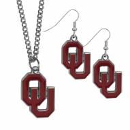 Oklahoma Sooners Dangle Earrings & Chain Necklace Set
