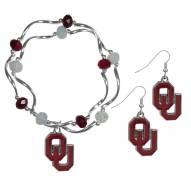 Oklahoma Sooners Dangle Earrings & Crystal Bead Bracelet Set