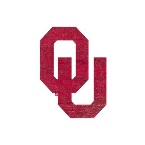 Oklahoma Sooners Distressed Logo Cutout Sign