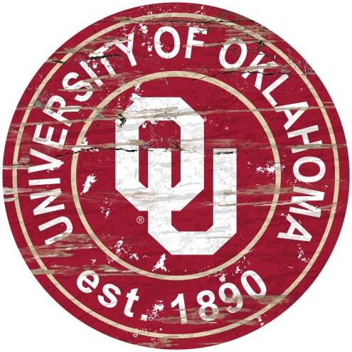 Oklahoma Sooners Distressed Round Sign