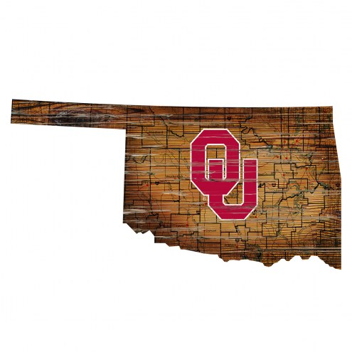 Oklahoma Sooners Distressed State with Logo Sign