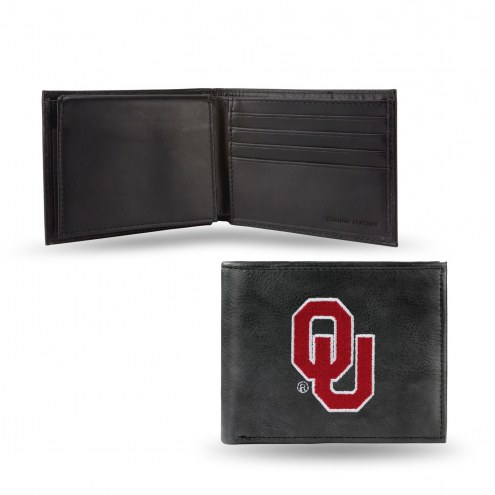 Oklahoma Sooners Embroidered Leather Billfold Wallet