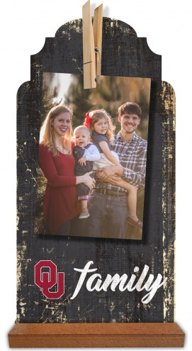 Oklahoma Sooners Family Tabletop Clothespin Picture Holder