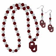 Oklahoma Sooners Fan Bead Earrings & Necklace Set