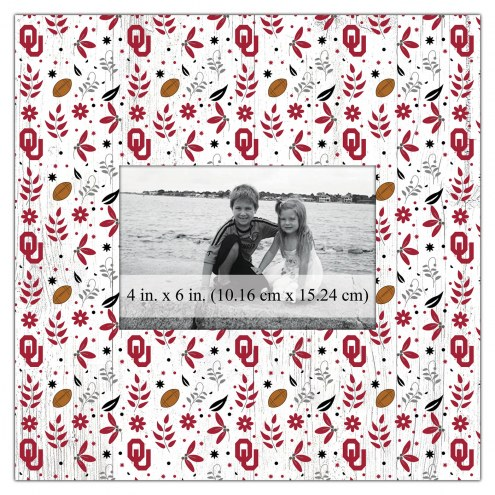 """Oklahoma Sooners Floral Pattern 10"""" x 10"""" Picture Frame"""