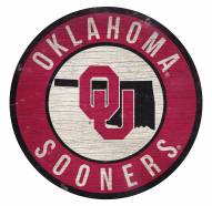 Oklahoma Sooners Round State Wood Sign