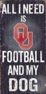 Oklahoma Sooners Football & Dog Wood Sign