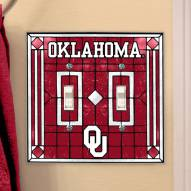 Oklahoma Sooners Glass Double Switch Plate Cover