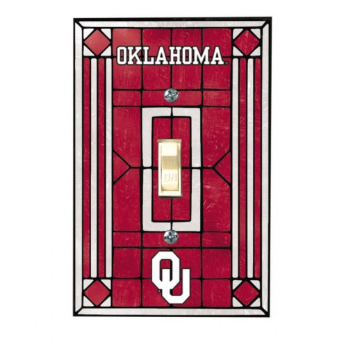 Oklahoma Sooners Glass Single Light Switch Plate Cover