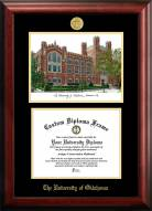 Oklahoma Sooners Gold Embossed Diploma Frame with Campus Images Lithograph