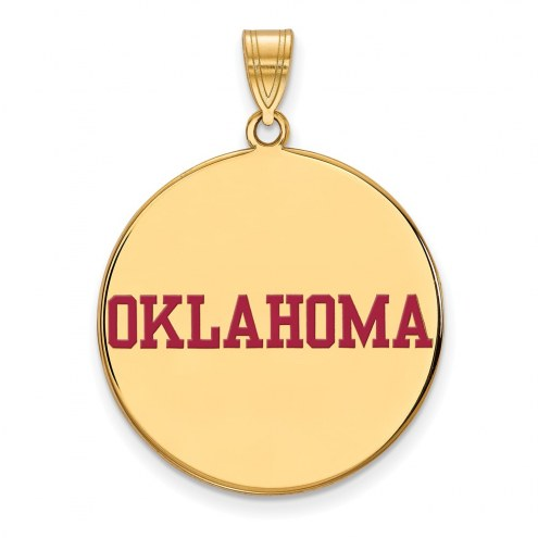 Oklahoma Sooners Sterling Silver Gold Plated Extra Large Enameled Disc Pendant