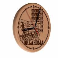 Oklahoma Sooners Laser Engraved Wood Clock